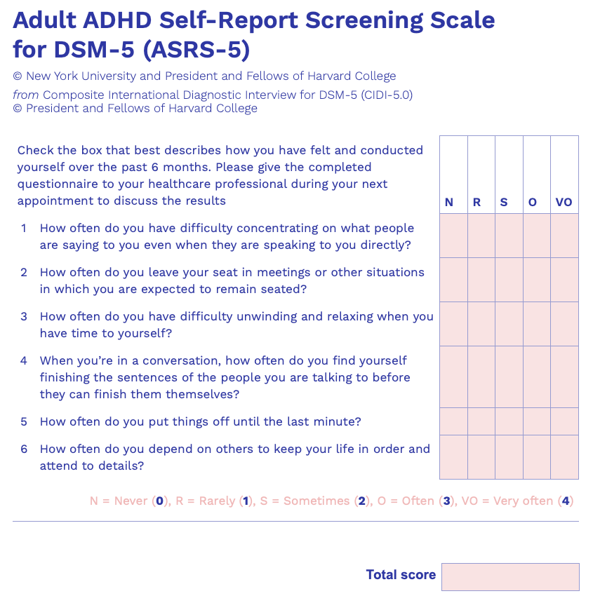 The Adult ADHD Self-Report Screening Scale for DSM-5.
