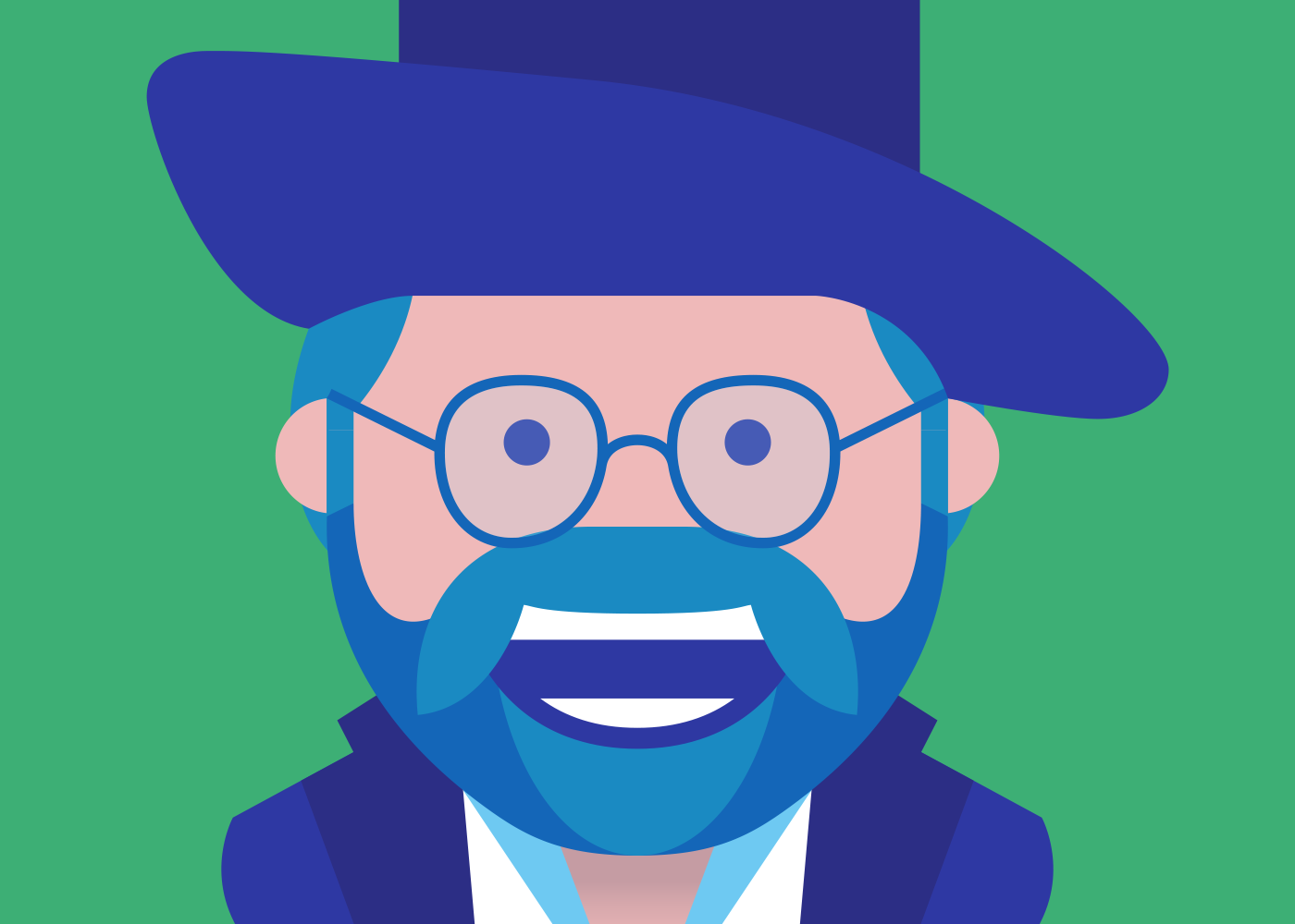 An illustrated portrait of Steven Greenfield.