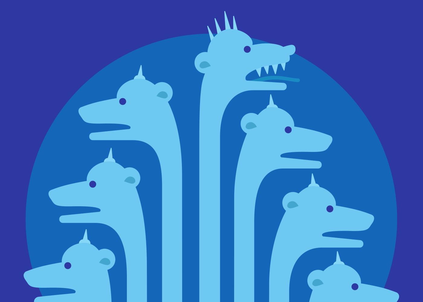 An illustration of the seven-headed beast of Revelations.