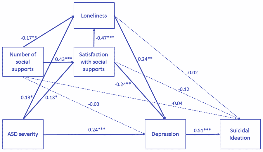 A model of the predictive roles that autistic traits, loneliness, the number of social supports, satisfaction with the available social support, and depressive symptoms play in suicidal ideation for autistic individuals.