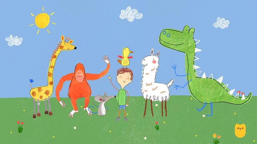An image of Pablo and his jolly animal friends.