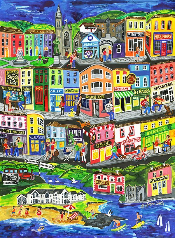 A colorful painting of Clonakilty by Irish artist Simone Walsh.
