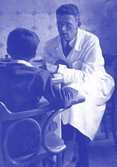 A photograph of Hans Asperger with a young patient at the University Pediatric Clinic in Vienna, circa 1940.