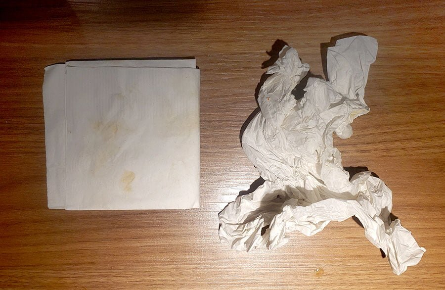 Two napkins, both used for different purposes.