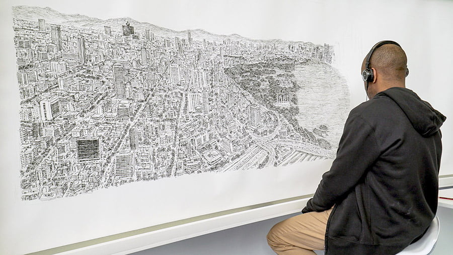 A large and detailed illustration of the Mexico City skyline, by autistic artist Stephen Wiltshire.