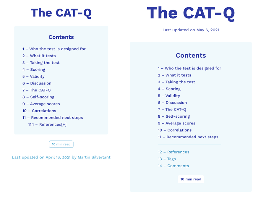 A screenshot comparing the old and new table of contents.